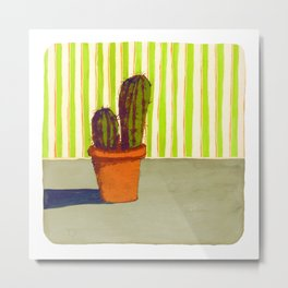 Cactus with Wallpaper Metal Print