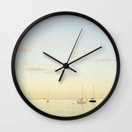 Crescent Beach Boats Wall Clock