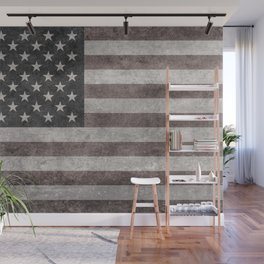 USA flag on hand painted canvas texture Wall Mural