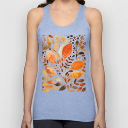 Autumn watercolor leaves Unisex Tank Top