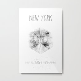 Coordinates NYC Brooklyn Bridge |watercolor monochrome Metal Print