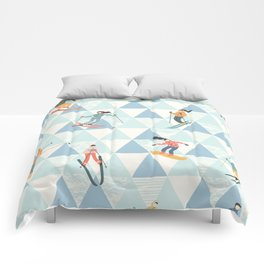 Ski skiing winter snow mountain pattern Comforters