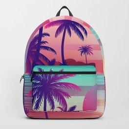 Sunset Palm Trees Vaporwave Aesthetic Backpack