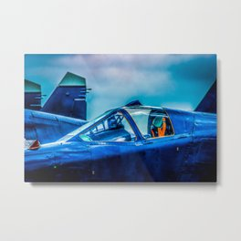 Cockpit Of A Modern Fighter Plane. Blue Colors. Aviation Art Metal Print
