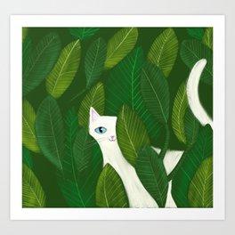 Jungle Cat white cat in leaves artwork by Tascha Art Print