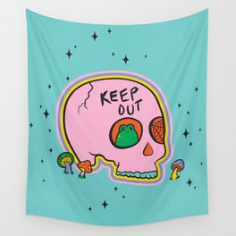 Keep Out Frog Skull Wall Tapestry
