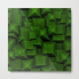 Green Optical Illusion Square Metal Print
