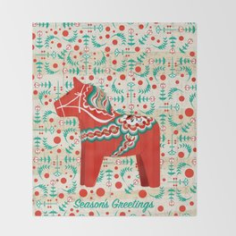 Dala Horse Throw Blanket