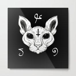 Cat From Hell Baphomet Satanism Demonic Sphynx Cat Metal Print