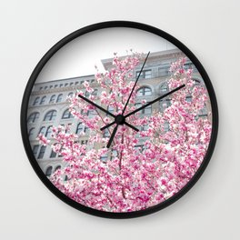 NYC Cherry Blossoms Wall Clock