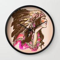 oklahoma Wall Clocks featuring Oklahoma  by Hollyce Jeffriess Designs