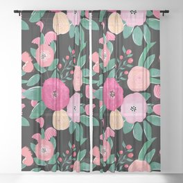 Stylish abstract creative floral paint Sheer Curtain