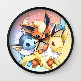 Jolteon Vaporeon and Flareon Wall Clock