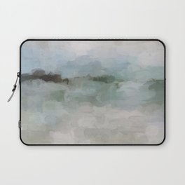 Sage Green Sky Blue Blush Pink Abstract Nature Sunrise Reflection Wall Art Painting Land Sky Earth Laptop Sleeve