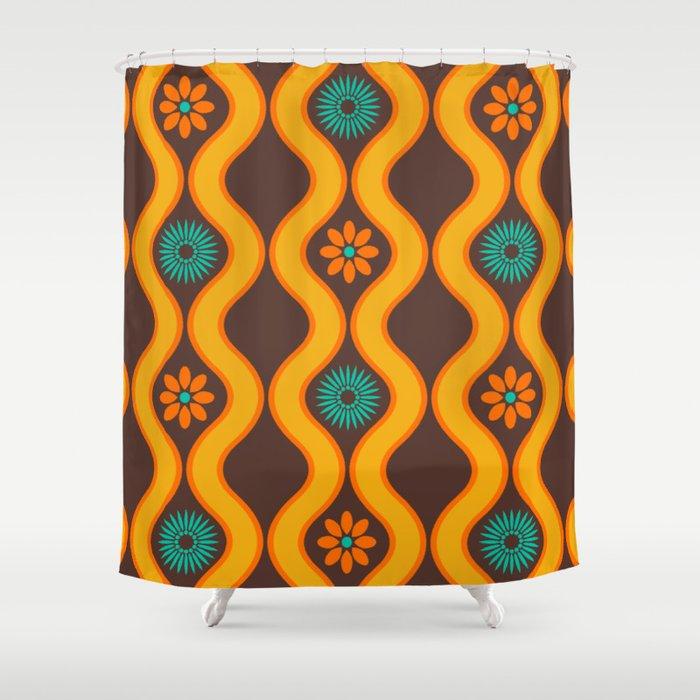 1970s Design Brown Orange Blue Shower Curtain