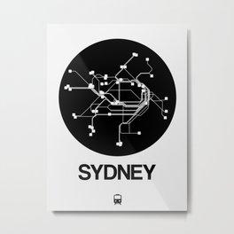 Sydney Black Subway Map Metal Print