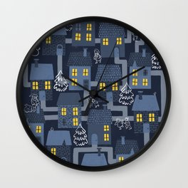 Houses and Christmas Wall Clock