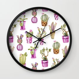 Purple Potted Cacti Wall Clock