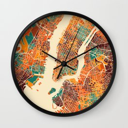 New York Mosaic Map #2 Wall Clock