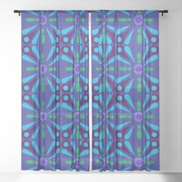 Green, Blue and Purple Shapes Sheer Curtain