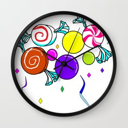 Peppermint, Caramel, Bubble Gum, Candies with Confetti Wall Clock