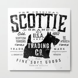 Scottie Trading company Scottish Terrier Dog soft goods vintage style graphic Metal Print