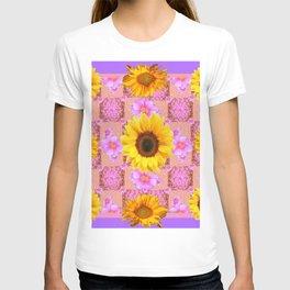 Lilac pink Patterns Sunflower Floral Art T-shirt