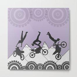 Lavender Purple Motocross Mountain Stunt Rider Metal Print