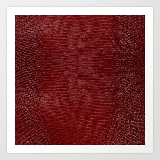 Red Lizard Leather Print Art Print