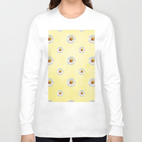 Daisies in love- Yellow Daisy Flower Floral pattern with Ladybug on #Society6 Long Sleeve T-shirt
