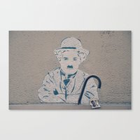 charlie chaplin Canvas Prints featuring Charlie Chaplin ! by Flo Croizier
