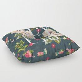 Adventure // Floral Typography Floor Pillow