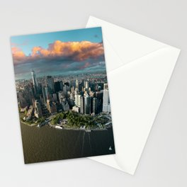 Aerial view of lower Manhattan, New York City Stationery Cards