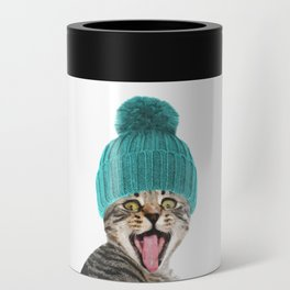 Cat with hat illustration Can Cooler