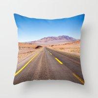 chile Throw Pillows featuring Route 27, Atacama - Chile by klausbalzano