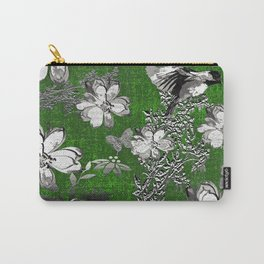 Birds Green Gray White Toile Carry-All Pouch