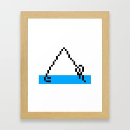 Pixel Art Yoga Downward Dog Pose Framed Art Print