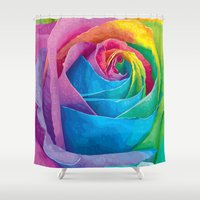 rose Shower Curtains featuring Rose  by Aloke Design