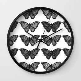 Monarch Butterfly - Black and White Wall Clock