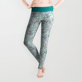 Baby Elephants and Egrets in Watercolor - egg shell blue Leggings