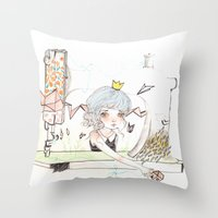 "sewing Throw Pillows featuring ""Sewing home"" by GABI FVENTES"