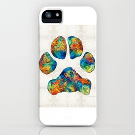Colorful Dog Paw Print by Sharon Cummings iPhone Case