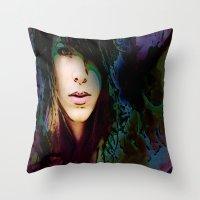 sylvia plath Throw Pillows featuring Sylvia V2 by Robin Curtiss