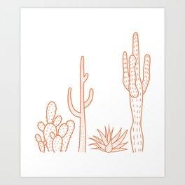 Terracotta cactus illustration on white background Art Print