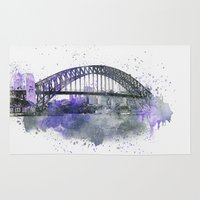 sydney Area & Throw Rugs featuring Sydney Harbor Bridge II by LebensART