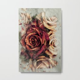 Abstract Roses in Red Yellow & Orange Metal Print