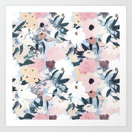 Pretty Grayish Blue Watercolor Pink & White Floral Design Art Print