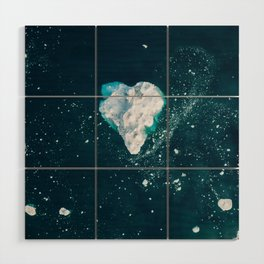Heart of Winter - Aerial view of Icebergs in the arctic Ocean Wood Wall Art