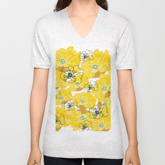 yellow marzipan flowers Unisex V-Neck