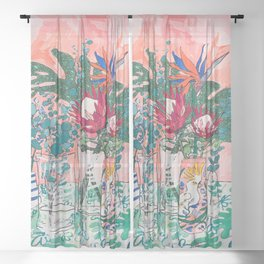 Cockatoo Vase - Bouquet of Flowers on Coral and Jungle Sheer Curtain